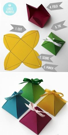 Pyramid Boxes - withe ribbon - template