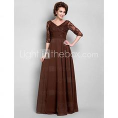 Lanting Bride A-line Plus Size / Petite Mother of the Bride Dress Floor-length Half Sleeve Chiffon / Lace withBeading / Draping / Lace /   466564 2016 –  $99.99