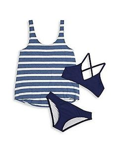 Splendid Girl's Three-Piece Bikini and Stripe Tank Set