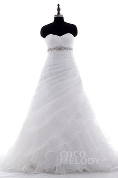 A-Line+Sweetheart+Empire+Court+Train+Organza+White+Sleeveless+Lace+Up-Corset+Wedding+Dress+Beading+Pleating+LD3897