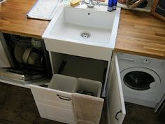 Perfect sink system. Was wondering about where to hide our trash bin!