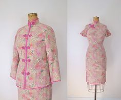 Vintage Cheongsam / Silk Dress & Jacket / Floral von FemaleHysteria