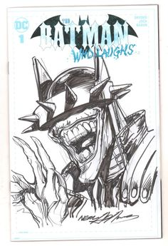 The Batman Who Laughs Blank Variant Cover - Batman Who Laughs Bust Drawing - Signed by Comic Artist(s) Neal Adams - W. Joker Drawings, Batman Drawing, Drawing Poses, Drawing Ideas, Batman Metal, Youtube Drawing, Comic Artist, Dark Knight, Art For Sale