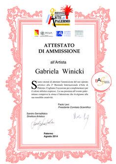 Certificado de admisión en la Bienal Internacional de Arte de Palermo, ITALIA