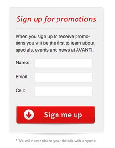 Button: Promotional Signup form Web Design with a Great Button Style from Avanti Italian Restaurant › PatternTap