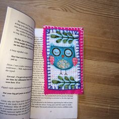 Blue Owl on Pink Felt Bookmark by LorraineWilsonDesign on Etsy https://www.etsy.com/listing/204667368/blue-owl-on-pink-felt-bookmark