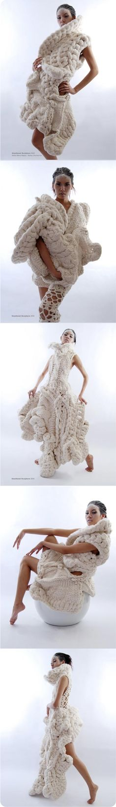 Constructed knitwear. Designs by Johan Ku - Emotional Sculpture (2004) Collection. #Fashion #Art #White