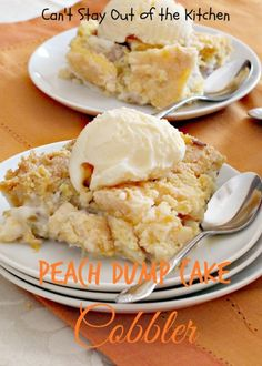 Peach Dump Cake Cobbler | Can't Stay Out of the Kitchen | sensational #dumpcake #dessert using #peachpiefilling, #coconut and #walnuts. #peaches