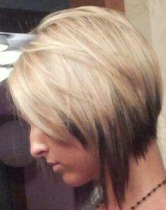 Creative graduated bob hair cut and partial highlight...