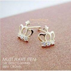 Earrings lovely diamond crown earrings DIY Jewelry Accessories, cheap fashion earring ,shop at www.costwe.com