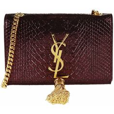 Saint Laurent Shoulder Bags ($1,330) ❤ liked on Polyvore featuring bags, handbags, shoulder bags, purple, red purse, red satchel bag, monogrammed purses, purple satchel handbag and snakeskin handbags