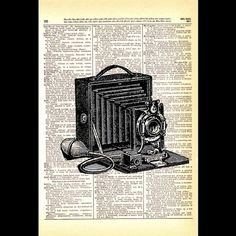 VINTAGE FOLDING CAMERA  art print.    Art on Text looks FABULOUS in cottage, country, retro and shabby chic, modern or contemporary decor