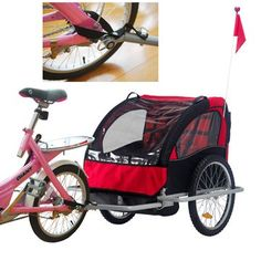 AOSOM bike trailer offers a comfortable and safe ride for children. It can be used for up to 2 children, and can be quickly converted to a stroller without using tools. 20-inch big wheels ride easily across uneven terrain, and a universal coupler attaches quickly and easily to most bikes. This 2010 New version AOSOM bike trailer/stroller also comes with improved hand brake system with lock, so when you use it as a jogging stroller, you can lock the brake when the stroller is not in motion.