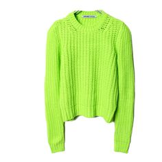 Neon Green Cropped Chunky Knitted Jumper ($90) ❤ liked on Polyvore