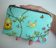 Aqua Bird House Zipper Pouch Eco Friendly Padded Little Case by JPATPURSES, $9.00