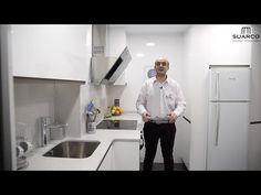 Cocinas blancas modernas 2016 sin tiradores y encimera de silestone - YouTube