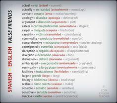 falsos amigos really useful of FALSE FRIENDS for spanish speakers #voc #ELT