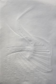 german artist Simon Schubert's creased paper architectural drawings