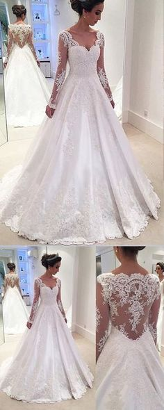 Fabulous White A Line Satin Long Sleeves Wedding Dresses with Appliques #Longsleeves #Satin #Aline #Laceweddingdresses