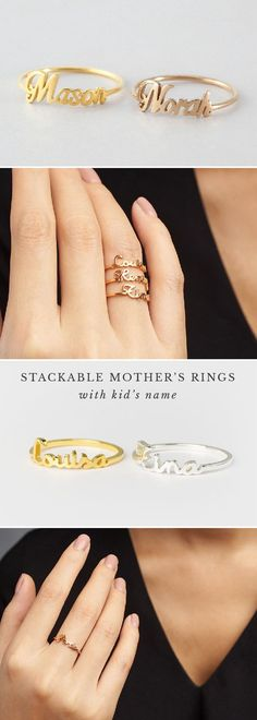 Super Gifts For Mom Jewelry Mothers Day Ideas Gifts For Husband, Gifts For Mom, Xmas Gifts, Xmas Presents, Gift For Sister, Diy Gifts, Bling Bling, Stackable Name Rings, Wedding Gifts For Friends
