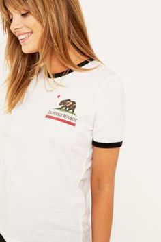 Truly Madly Deeply California Republic Ringer T-shirt