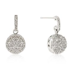 Crystal Ball Dangle Earrings  White Gold Rhodium Bonded Earrings with Round Cut Clear CZ Accents in a Pave Setting in Silvertone  The Crystal Ball Dangle Earrings will wow everyone around. It is the perfect piece to jazz up any outfit. White Gold Rhodium Bond is achieved using an electroplating process that coats the item with heavy layers of rhodium a close cousin of platinum that costs three times as much which gives our jewelry a platinum luster.