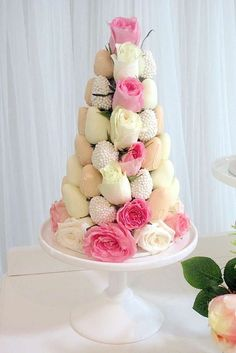 Strawberry tower at a Christening baptism party! See more party planning ideas at CatchMyParty.com!