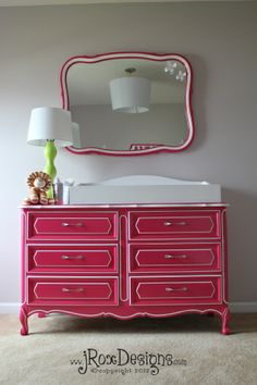 hot pink painted dresser - do this for our old bedroom stuff to move into the guest room - but maybe black or something more neutral