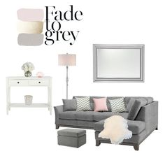 """""""Grey and blush pink accents"""" by jazzywiles on Polyvore featuring interior, interiors, interior design, home, home decor, interior decorating, Quoizel, Diane James, H&M and The White Company"""