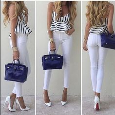 Up Close and Stylish (love her style) top, denim, heels and Chic Outfits, Spring Outfits, Fashion Outfits, Womens Fashion, Fashion Styles, Fashion Heels, Look Office, London Fashion, Casual Chic