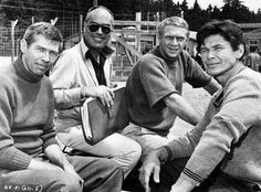 """James Coburn , director John Sturges , Steve McQueen & Charles Bronson On the set of """" The Great Escape """" , 1963"""