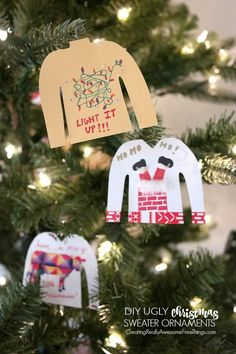 Ugly Christmas Sweater DIY ornaments! I love the little hangers made from paper clips!