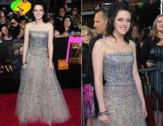 """Lua Nova (2009)  Em 2009, Kristen estava vivendo Joan Jett em """"The Runaways"""" e, por isso, seu visual estava todo mudado: cabelo preto e ultrarrepicado. Foi assim que ela surgiu nos red carpets de """"Lua Nova"""", arrasando em LA com vestido de tule da Oscar de la Renta!"""