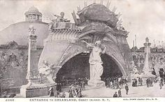 Entrance to Dreamland, Coney Island, New York 1905 (taking note of the pillars)