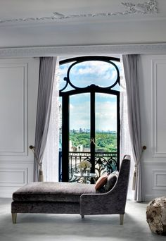 Love The Elegant Look & Great Idea To Put Seating In Front Of French Doors