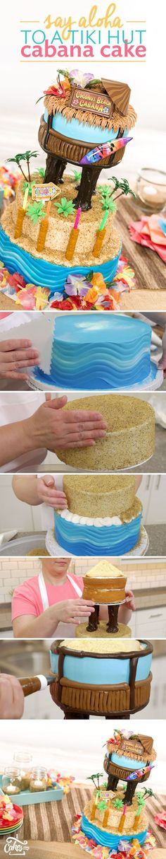 Recipe tutorial to make your own Tiki Hut Cabana Cake for a luau party with easy-to-follow step photos.