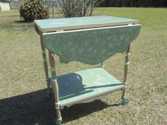 Vintage Bar Cart, Tea Trolley,shabby chic Furniture, Home Bar,whimsical,pastel colors,garden decor,nursery decor,Solid Wood Tea Cart by KarensChicNShabby on Etsy