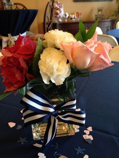 Flowers in rectangle vase