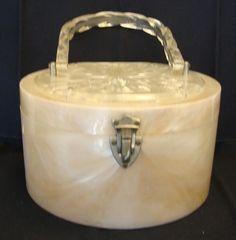 Vintage Pearlized Blush Clear Round Lucite Purse Handbag | eBay