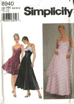Simplicity Sewing Pattern 8940 Misses Size 6-12 Formal Evening Gown Prom Long Short Dress Wrap   Simplicity+Sewing+Pattern+8940+Misses+Size+6-12+Formal+Evening+Gown+Prom+Long+Short+Dress+Wrap