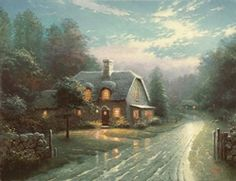 """Nanette and I love to walk hand-in-hand in the moonlight. """"Moonlight Lane I"""" is our long-overdue romantic walk through the English countryside. Moonlight, with its dramatic moods and colorations, its rich, transparent shadows, its warm lemon-yellow highlights, is a challenge and a delight. In this painting I was particularly pleased with the way reflections of moonlight and of the illuminated cottage interior mingle in the puddles. — Thomas Kinkade.  February 1994"""