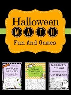 This bundle includes 3 fun Halloween Math games! Seasonal themes keep students engaged and excited about participating in Math class. This 3 game pack includes practice games for addition, subtraction, multiplication and rounding. Here are the individual Halloween Math, Halloween Activities, Fourth Grade Math, Math Class, Math Stations, Math Centers, Math Boards, Teacher Lesson Plans, Fun Math Games