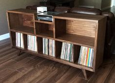 """Mid-century modern stereo console for a record player and record storage. The """" – Laura Rodger – Audioroom Apartment Furniture, Diy Furniture, Furniture Storage, Record Cabinet, Record Shelf, Stereo Cabinet, Record Player Stand, Deco Studio, Vinyl Record Storage"""