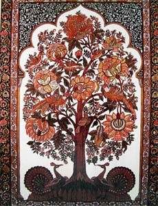 The Tree of Life . From a kalamkari piece; Kalamkari Painting, Madhubani Painting, Phad Painting, Mystic Symbols, Tree Of Life Art, Mughal Paintings, Magical Tree, Indian Textiles, In The Tree