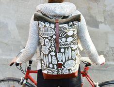 TINTA canvas / leather / backpack / screen printed White Leaf, Canvas Leather, Cotton Canvas, Leather Backpack, Backpacks, Hoodies, Classic, Blog, Sweaters