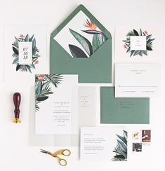 Tropical wedding invitation card and envelope with liner, rsvp card, infol
