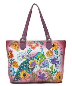 Another great find on #zulily! Pink Peacock Leather Tote by Biacci #zulilyfinds