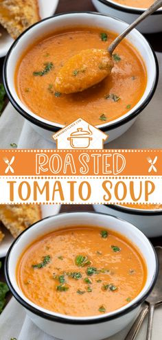 This creamy and flavorful homemade Roasted Tomato Soup is made of oven-roasted tomatoes, onions, garlic and, blended with heavy cream and parmesan cheese. This healthy food idea is best paired with grilled cheese sandwiches. Save this easy spring dinner!
