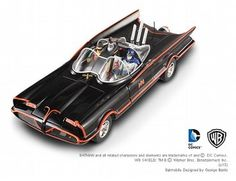 The Classic TV Batmobile With Batman And Robin Figures is a diecast model car in 1/18th scale from the Hot Wheels Elite Batman Collection.