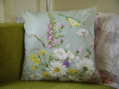 Spring is in the air, at least the moments when the wind isn't blowing . .  .Cushion by BobbinsUp . . . http://www.etsy.com/shop/BUBobbinsUp?ref=hdr_shop_menu
